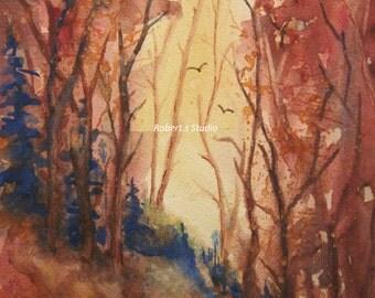 Autumn Hillside, Print of Original Watercolor Landscape Painting, watercolor art, fall landscape, autumn trees, nature artwork, art print.