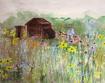 Field Of Flowers, Print of Original Watercolor Painting, barn painting, flower field, watercolor art, watercolor print, wildflower art.