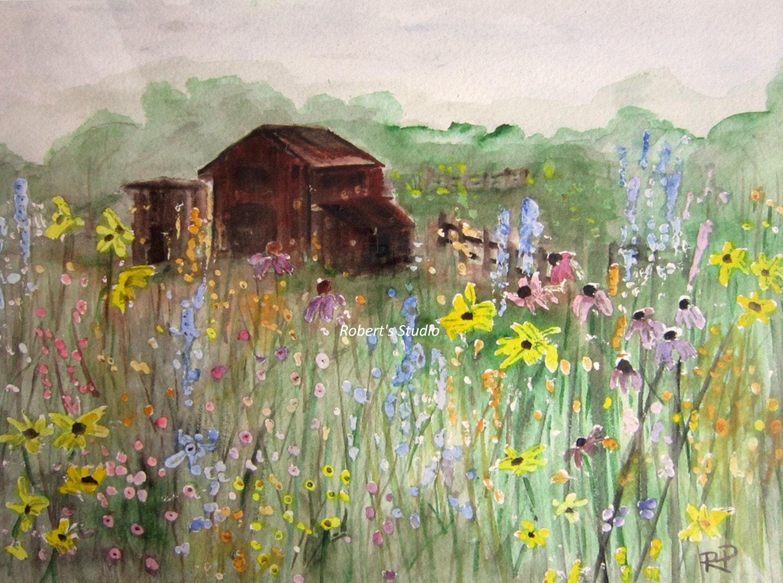 Field Of Flowers Print of Original Watercolor Painting barn