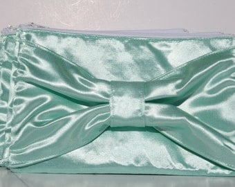 Mint Satin Bow Clutch Formal Evening Bridesmaids Zipper Clutches with White Lining
