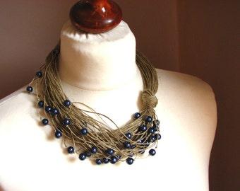 Blue raindrops - linen necklace