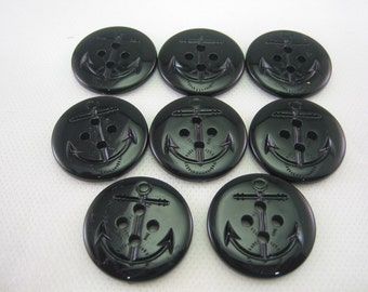 "Black Anchor Button, Peacoat button, Black, 1 1/16"" (28mm) in diameter - New - Lot of 8 Large"