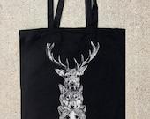 Elk Wolf Bear Totem- Black Cotton Canvas Tote Bag