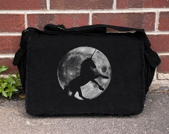 Unicorn and Full Moon - Cotton Canvas Messenger Bag - Screen Printed Messenger Bag