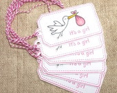 Baby Shower Tags, Baby tags, Baby girl tags, Gift tags, Favor tags, Baby pink, It's a girl, Stork, Handmade tags