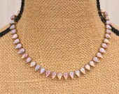 Vintage Fire Opal Teardrop Tennis Necklace,Vintage Rhinestone Jewel Necklace,Harlequin Opal, Pear Shape,UNIQUE,Brass Chain,Choker,Bridal