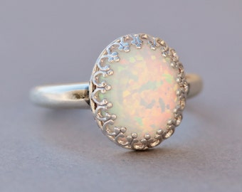 Sterling Silver Lab Created Opal Ring,White Opal Ring,Silver Crown Setting,Lab Created Synthetic Opal,October Birthstone,Opal Jewelry