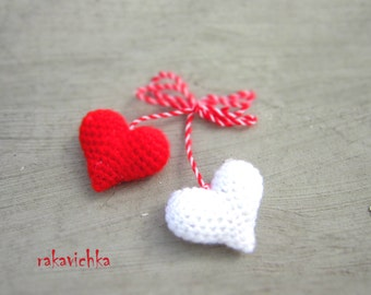 Martenitza Two Hearts Brooch. Baba Marta Red White. Crocheted Hearts Bulgarian Martenitsa. Martenici Fiber Art Jewelry  by dodofit on Etsy