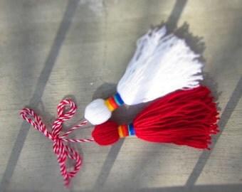 Bulgrian Martenitza Red White. Rainbow Fiber Martenici Brooch. Fiber Art Tradition Martenitsa. Baba Marta Joy Selebration. Spring Home Decor