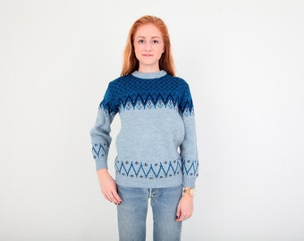 Vintage Romanian Sweater in Blue Fair Isle Knit