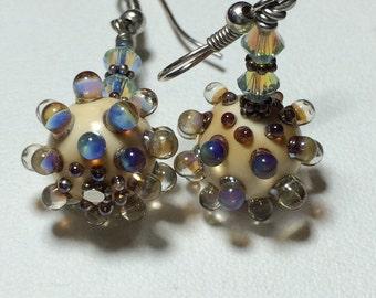 Handmade lampwork earrings cream bumpy beads lampwork jewelry
