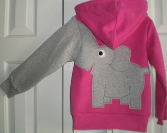 Toddler girls zip front hoodie, hooded sweatshirt, pink with grey elephant trunk sleeve, elephant back, 5T