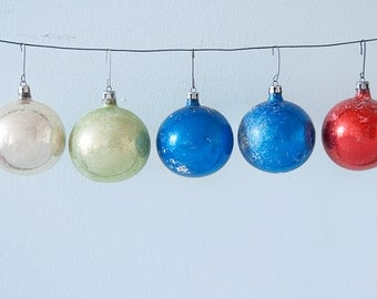 Lot of 5 Medium Sized Vintage Christmas Glass Ornaments Silver Green Blue Red