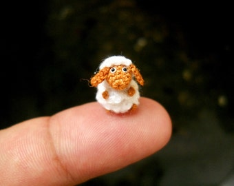 Cute Fawn Sheep - Micro Crochet  Tiny Sheep - Made to Order