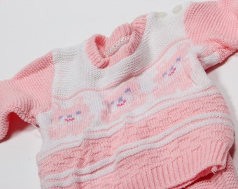 Vintage Pink Baby Clothes | Knit Sweater Leggings Footsie Feet | Bears 1950s 60s 70s Pastel Baby Girl Clothes USA Vintage Outfit 4DD SALE