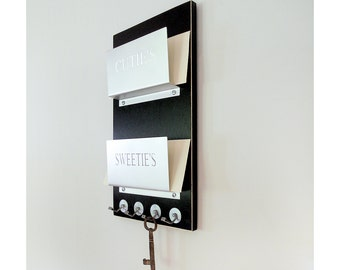 Metal Wall Mail Organizer wall mail holder: minimal mail organizer with key hooks