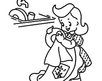 "Clear stamp (2"" x 2.5"") FLONZ clingy acrylic stamp // Young Girl Helper Dishwashing"