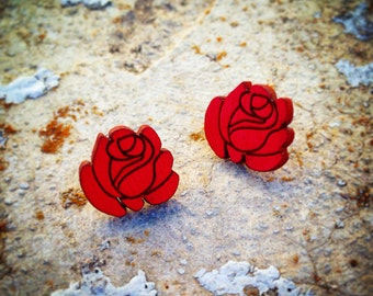 Red Rose Stud Earrings
