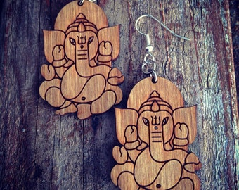 Wood Ganesha Elephant Earrings