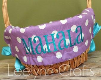 Personalized Easter Basket Liner - Purple Polka Dot - Personalized with Name - Custom Basket Liner