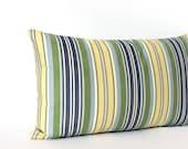 Lumbar Pillow - 12x21 - Stripe Pillow - Throw Pillow Cover - Blue Green Pillow - Oblong - Decorative Pillow