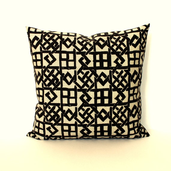 22x22 Throw Pillow Covers : Decorative Throw Pillow Cover Black and Beige by couchdwellers
