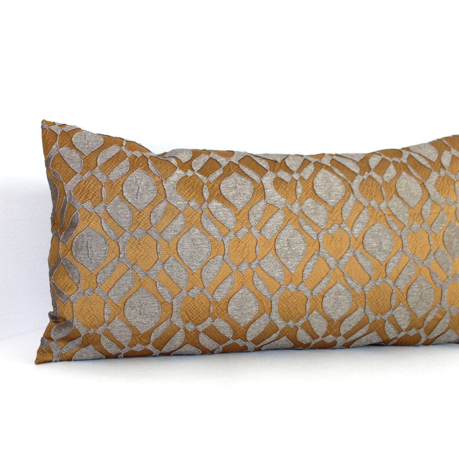 Lumbar pillow cover gold pillow oblong accent decorative throw for Designer accent pillows