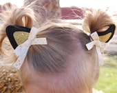 "Kitten Ears Hair Clips ""Purrfect"" for Cat Costume or Kitty Halloween Costume Dress Up Costumes"