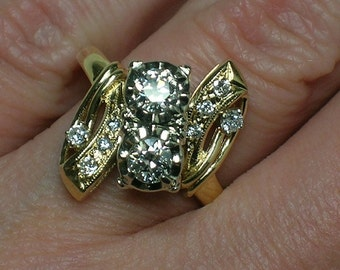 1950s Diamond Ring, Anniversary or Engagement, 1940s Cluster, Cocktail Ring. Size 7