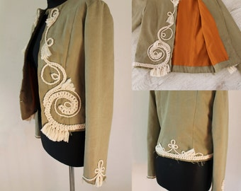 Military Jacket, embroidered Tribal Festival Bohemian, frayed edges,