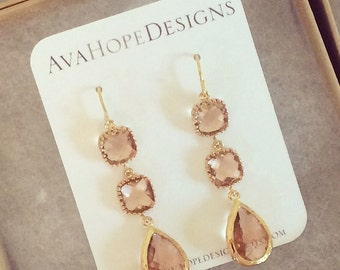 Gold Earrings, Dangle Earrings, Champagne Earrings, Bridesmaids Earrings, Bridesmaid gifts, peach earrings, blush earrings, bridal earrings