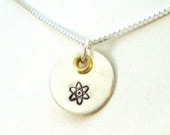 Atomic Particle Necklace - Hand Stamped Sterling Silver Necklace