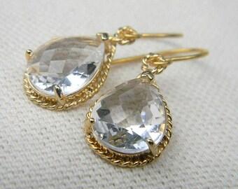 Clear Earrings / Dangle Earrings / Bridesmaid Earrings / Wedding Earrings / Bridesmaid Jewelry / Crystal Earrings / Gift For Her