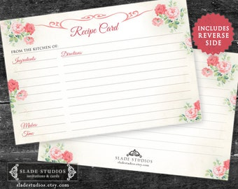 Pink Floral Bridal Kitchen Tea recipe cards. Vintage Pink Rose Recipe Cards. Download and Print Today.