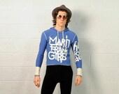 vintage pullover 80s 90s Marithé + François Girbaud hoodie sweater hood cotton beach drug rug small medium Lucky 7