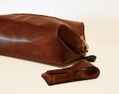 Large Leather Toiletry Bag w/ Safety Razor Case, Dopp Kit, Personalized, Groomsmen Gifts