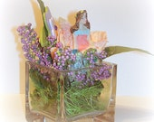 Glass Fairy Fae Garden handcrafted Glass Cube Paperweight Small Miniature Fairy Garden  Personal Gift One Of A Kind Feminine Pretty