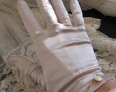 Beautiful Beige Satin Stretch Ladies Soft Gloves Button Wrist