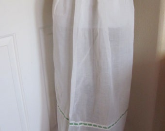 Vintage White Sheer Cotton Half Apron Large Size