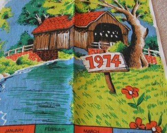Retro Calendar Irish Linen Kitchen Towel - Year 1974