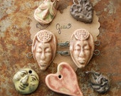 SUPER SALE / Ceramic Pendant/Bead/Button Set (12-29-143)