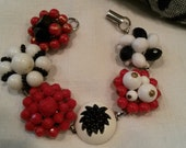 Red white and black vintage cluster beaded earring bracelet