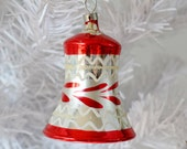 Bell Christmas Ornament Red White Mica Silver Vintage Czechoslovakia Ringing Bell Clapper 1950's