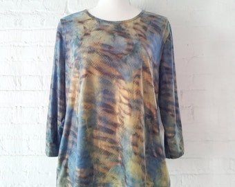 Holographic Tie Dye Metallic Shirt 90s Vintage Blue Botticelli Venus Art History Grunge Medium Large Club Kid Disco Rave Psychedelic Shirt