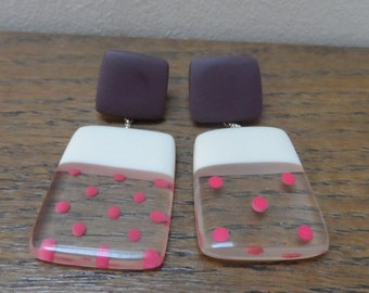 Rectangle mis-match earrings with cerise spots