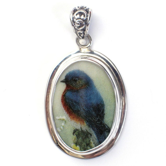 Broken China Jewelry Bluebird Garden Bird Left Facing Sterling Oval Pendant