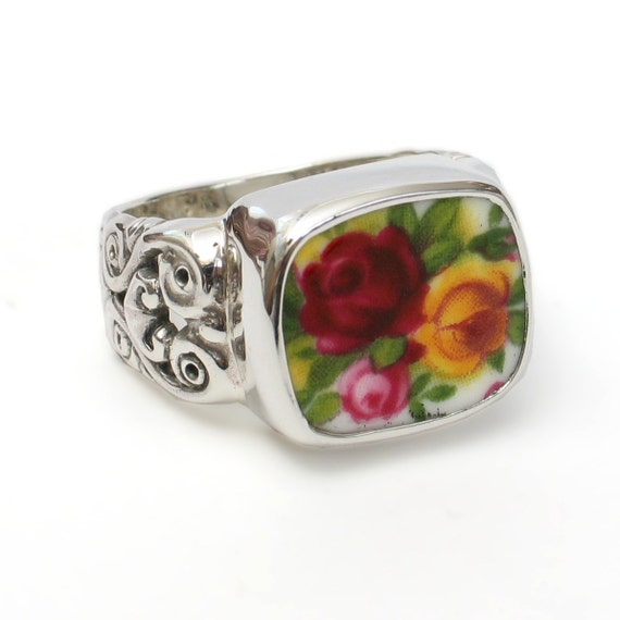 Size 7 Broken China Jewelry Old Country Roses Backstamp Sterling Ring