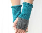 Autumn Knit Hand Warmers, Fingerless Gloves, Blue Turquoise Smoky Grey