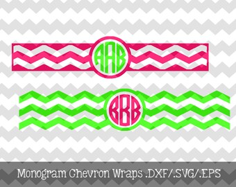 Monogram Chevron Wraps .DXF/.SVG/.EPS Files for use with your Silhouette Software Great to personalize phone chargers, cups, binders, etc