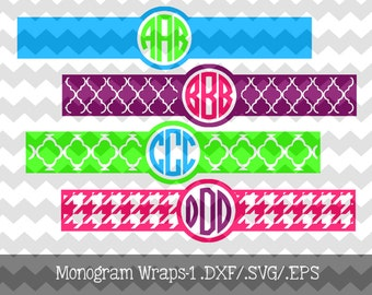 Monogram Wraps-1 .DXF/.SVG/.EPS Files for use with your Silhouette Studio Software Great to personalize phone chargers, cups, binders, etc